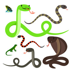 Snakes and lizard cartoon icons set