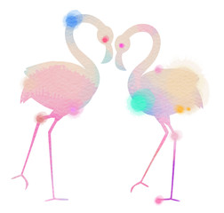Silhouette watercolor of romantic pink flamingo birds join heads to create a heart. Love and Valentine Day card.  Greeting card with love birds. Digital art painting