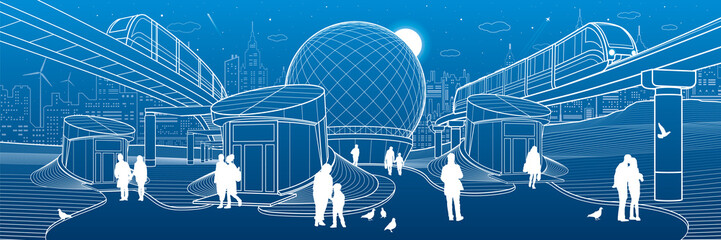 Modern city architecture infrastrucrure. Entrance to the underpass. Futuristic urban illustration. Trains ride on bridges. People walking at street. Airplane fly. Night town. Vector design art
