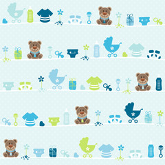 Seamless Pattern Teddy Baby Symbols Boy Dots Blue