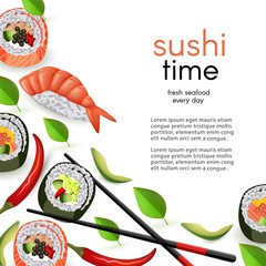 Japanese sushi restaurant template with rolls and ebi nigiri with chopsticks isolated on white background - realistic asian seafood banner with copy space, vector illustration.