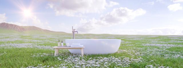 bathtube standing on beautiful meadow. 3d rendering