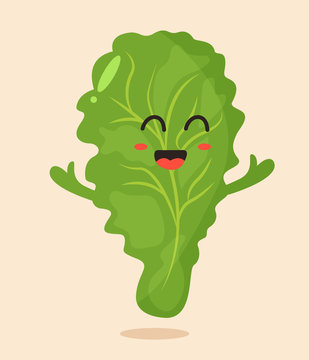 Bright poster with cute cartoon leaf of salad