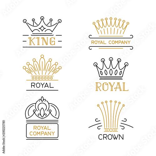 Crowns logo set luxury signs in trendy line style stock vector crowns logo set luxury signs in trendy line style stock vector illustration for hotel stopboris Gallery