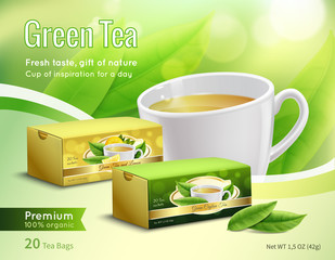 Green Tea Advertising Realistic Composition