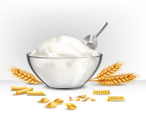 Bowl Of Wheat Flour Illustration