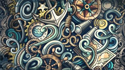 Doodles Nautical illustration. Creative marine background