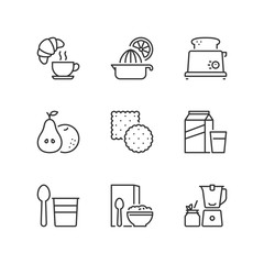 Outline icons. Breakfast. Food and drink