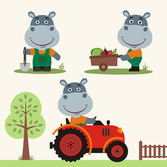 Set of funny hippo farmer with shovel, with wheelbarrow with vegetables, in farm tractor. Collection of hippo is working on the farm.