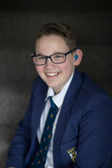 Reuben Litherland, 14, who is amongst those who have received an invitation to the wedding of Britain's Prince Harry and Meghan, poses for a portrait in Derby