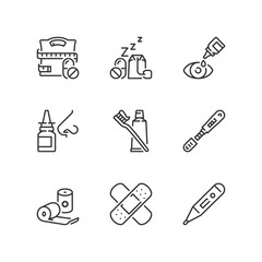 Outline icons. Pharmaceutical products