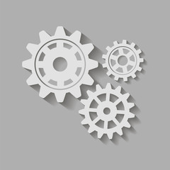 Gears with a shadow. Vector icon