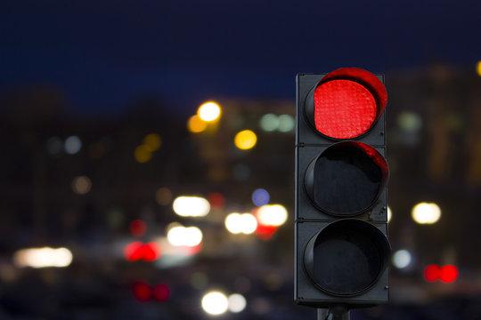 Traffic light red signal night