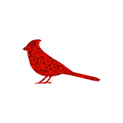 Cardinal bird spiral pattern color silhouette animal.