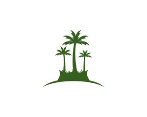 Coconut tree logo design vector illustration