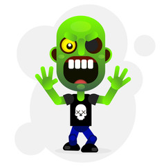 Vector cartoon funny green zombie