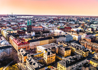 SUNSET AERIAL VIEW OF HELSINKI CITY-  FINLAND