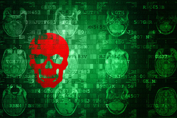 Red Scull on green MRI Digital Abstract technology background