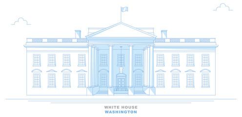 White House, Washington, disegno a mano libera, stilizzato. Vista frontale della Casa Bianca. Stati Uniti