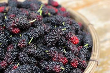 mulberry fruit in wicker basket