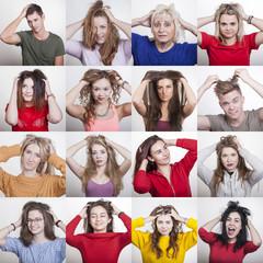Kollektion von 16 Portraits verschiedener, junger und alter Menschen mit Läusen und Juckreiz auf der Kopfhaut