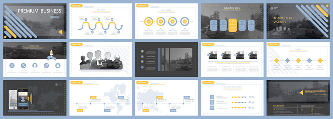 Blue, yellow, elements of presentation templates, white background. Slide set. Region infographic.Business presentations, corporate reporting, computer, advertising, annual report, leaflets, banners