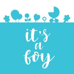 Its a boy lettering baby shower invitation, celebration greeting card, postcard, badge, print. Vector illustration