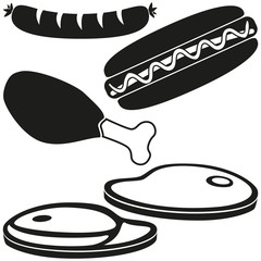 Black and white bbq meat silhouette set