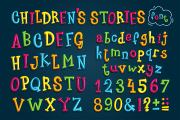 """set colored font """"children's stories."""" Multicolored vector letters and numbers for decoration"""