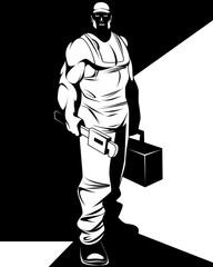 Silhouette of man repairman