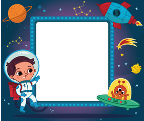 Cartoon Spaceman with Ad Banner Vector Illustration