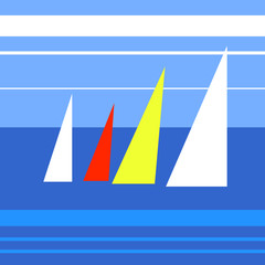 Illustration of abstract yachts in the sea