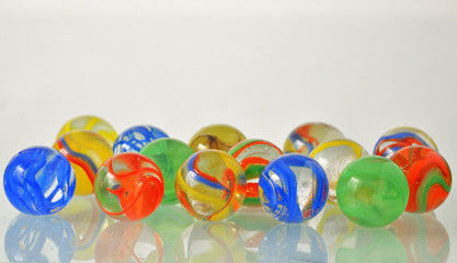close up of a bunch of marbles