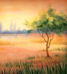 Watercolor landscape. Tree at lake
