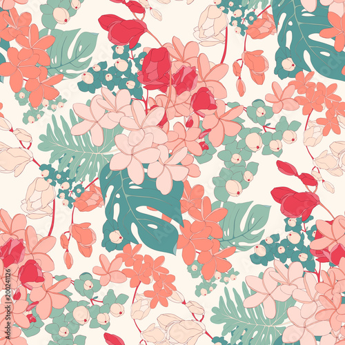 Vintage Tropical Pink Seamless Vector Wallpaper Stock Image And
