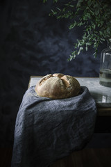 Close up of homemade bread on table