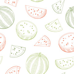 Watermelon graphic green red color seamless pattern sketch illustration vector