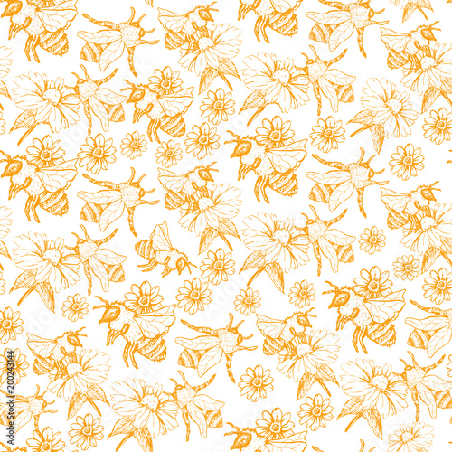 Honey Bee Seamless Pattern Sketch Vector Illustration With Bumble Fascinating Bee Pattern