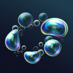 Set of realistic transparent colorful soap bubbles in the deformation. Water spheres with air, soapy balloons, lather, suds, soapsuds. Glossy Foam Balls with bright reflex. Vector 3d illustration.