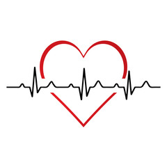 Heartbeat / heart beat pulse flat icon for medical.