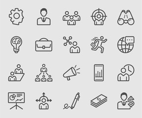 Line icons set for business management, Teamwork