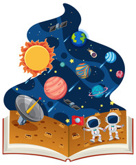 Astronomy book with astronauts and planets