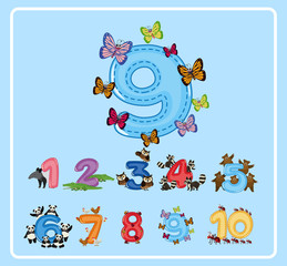 Flashcard design for number nine with butterflies