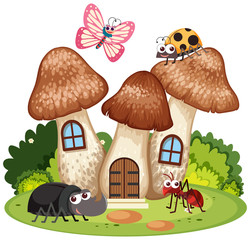 Many bugs live in the mushroom house