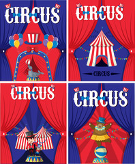 Poster design for circus with animals and trainer