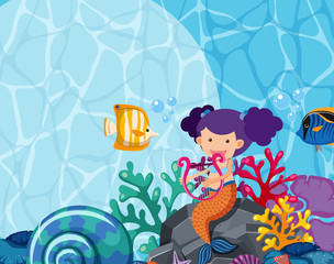 Background design with mermaid and fish under the sea