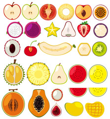 Different types of fruits cut in half