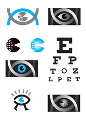 Optician, eye, icon set. 