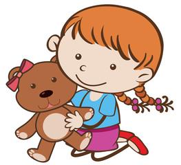 Cute girl hugging brown teddybear