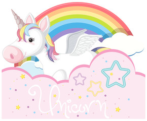 Background design with cute unicorn and rainbow